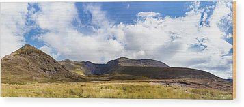 Panorama Of Macgillycuddy's Reeks In County Kerry Wood Print by Semmick Photo
