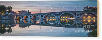 Wood Print featuring the photograph Panorama Of Pont Neuf In Toulouse by Elena Elisseeva