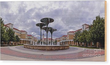 Panorama Of Texas Christian University Campus Commons And Frog Fountain - Fort Worth Texas Wood Print