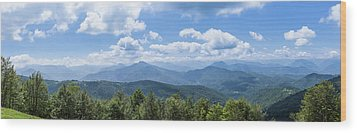 Panorama Of The Foothills Of The Pyrenees In Biert Wood Print by Semmick Photo