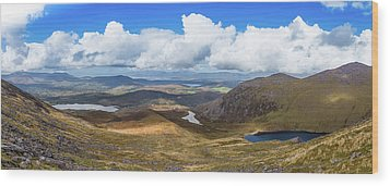 Panorama Of Valleys And Mountains In County Kerry On A Summer Da Wood Print by Semmick Photo