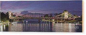 Panorama Of Waco Suspension Bridge Over The Brazos River At Twilight - Waco Central Texas Wood Print