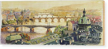 Panorama Prague Briges Wood Print by Yuriy  Shevchuk