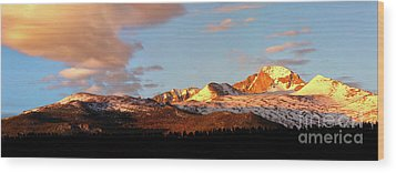 Panorama View Of Longs Peak At Sunrise Wood Print by Ronda Kimbrow