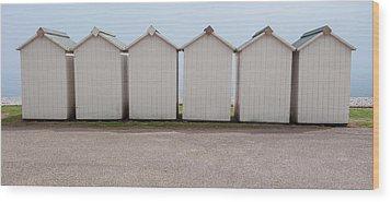 Panoramic Beach Huts Wood Print by Helen Northcott