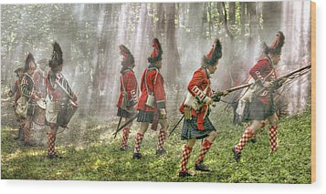Panoramic French And Indian War Battle Wood Print by Randy Steele