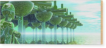 Panoramic Green City And Alien Or Future Human Wood Print by Nicholas Burningham