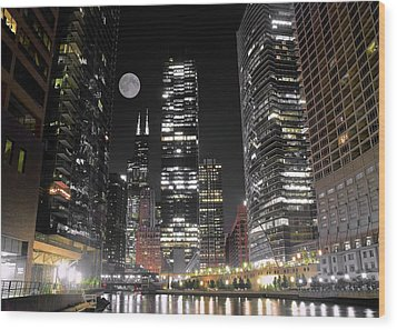 Panoramic Lakefront View In Chicago Wood Print by Frozen in Time Fine Art Photography