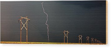 Panoramic Lightning Storm And Power Poles Wood Print by Mark Duffy