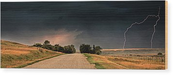 Panoramic Lightning Storm In The Prairie Wood Print by Mark Duffy