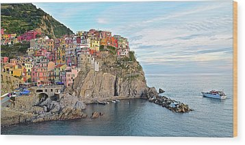 Wood Print featuring the photograph Panoramic Manarola Seascape by Frozen in Time Fine Art Photography