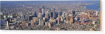 Panoramic Philly Skyline Aerial Photograph Wood Print by Duncan Pearson