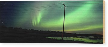 Panoramic Prairie Northern Lights Wood Print by Mark Duffy
