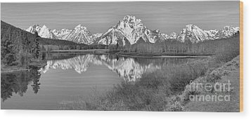 Panoramic Reflections At Oxbow Black And White Wood Print by Adam Jewell