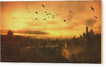 Panoramic View Of Seattle From The Balcony Wood Print