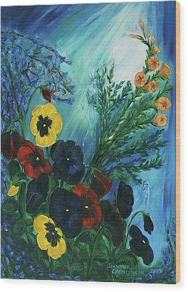 Pansies And Poise Wood Print by Jennifer Christenson