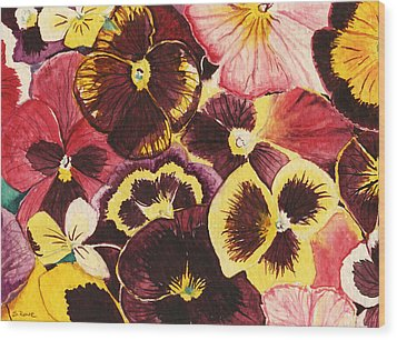 Wood Print featuring the painting Pansies Competing For Attention by Shawna Rowe