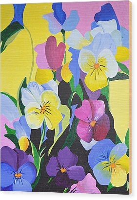 Pansies Wood Print by Donna Blossom