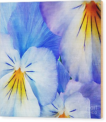Pansies In Blue Tones Wood Print