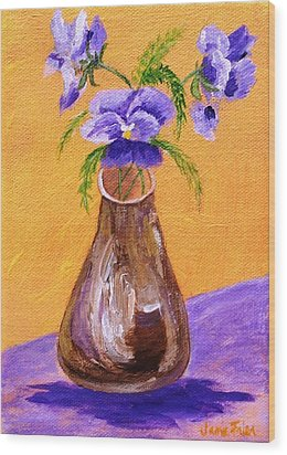 Pansies In Brown Vase Wood Print by Jamie Frier