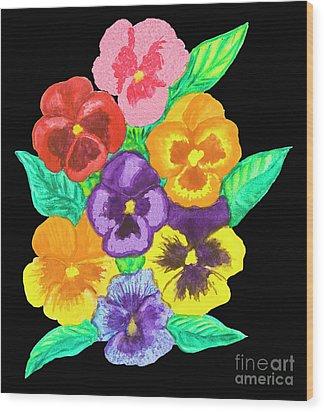 Pansies On Black Wood Print