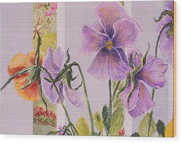 Pansies On My Porch Wood Print by Mary Ellen Mueller Legault