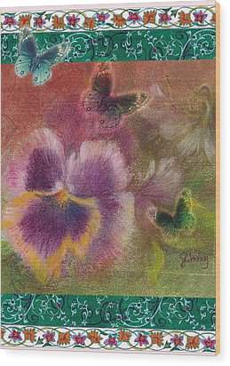Pansy Butterfly Asianesque Border Wood Print