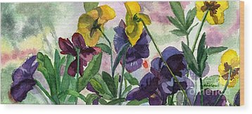 Pansy Field Wood Print by Lynne Reichhart