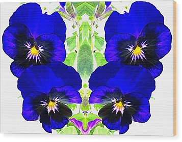 Pansy Pattern Wood Print by Marianne Dow