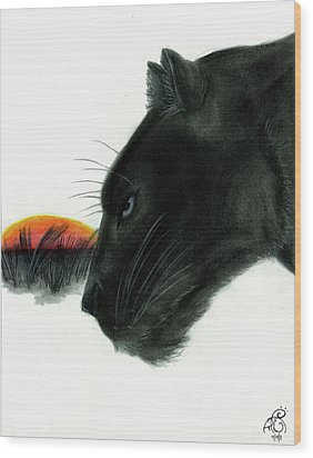 Panther At Dusk Wood Print by Tiphanie Erickson