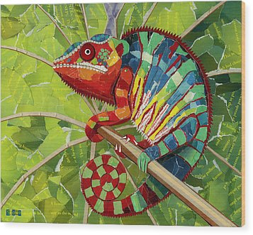 Panther Chameleon Wood Print by Shawna Rowe