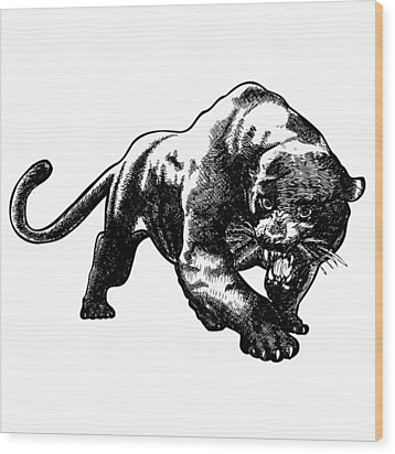 Panther Wood Print by Karl Addison