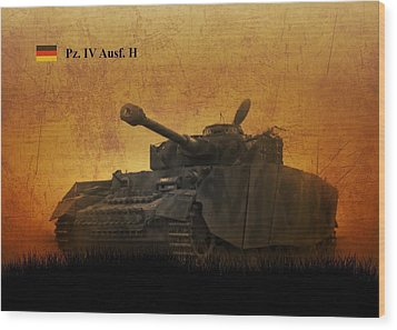 Wood Print featuring the digital art Panzer 4 Ausf H by John Wills