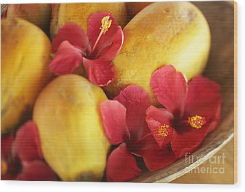 Papaya Fruit And Hibiscus Wood Print by Kyle Rothenborg - Printscapes