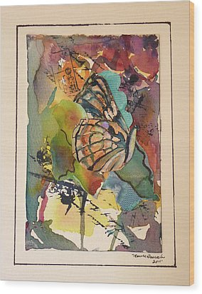 Wood Print featuring the painting Paper Butterfly by P Maure Bausch
