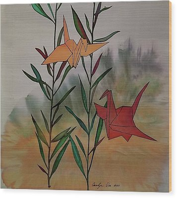Paper Cranes 1 Wood Print by Carolyn Doe