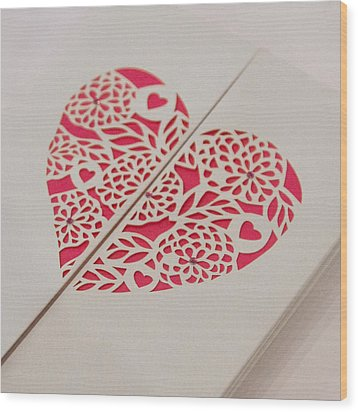 Paper Cut Heart Wood Print