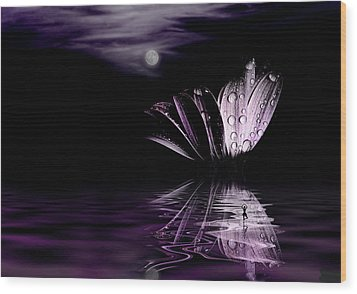 paper Moon Wood Print by John Poon