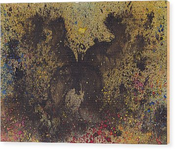 Wood Print featuring the painting Papillon Noir - Dark Butterfly - Mariposa Negra by Marc Philippe Joly