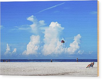 Wood Print featuring the photograph Para Sailing On Siesta Key by Gary Wonning