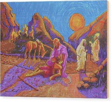 Parables Of Jesus Parable Of The Good Samaritan Painting Bertram Poole Wood Print by Thomas Bertram POOLE