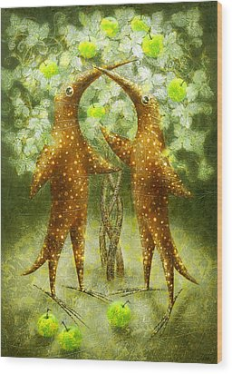 Paradise Apples Wood Print by Lolita Bronzini