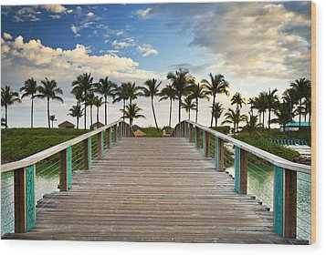 Paradise Beach Tropical Palm Trees Islands Summer Vacation Wood Print by Dave Allen