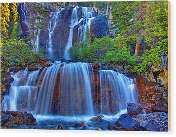 Paradise Falls Wood Print by Scott Mahon