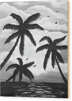 Wood Print featuring the painting Paradise In Black And White by Teresa Wing