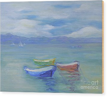Wood Print featuring the painting Paradise Island Boats by Barbara Anna Knauf