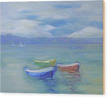 Paradise Island Boats Wood Print by Barbara Anna Knauf