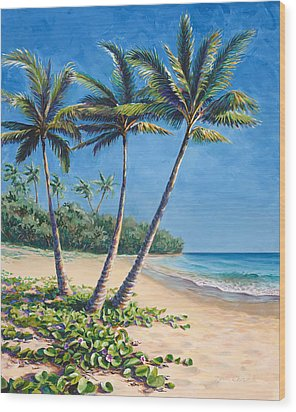 Wood Print featuring the painting Tropical Paradise Landscape - Hawaii Beach And Palms Painting by Karen Whitworth