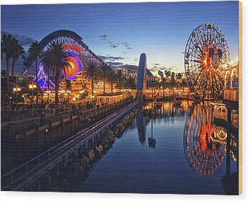 Paradise Pier Sunset Wood Print