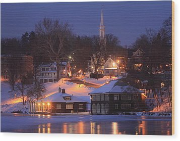 Paradise Pond Smith College Winter Evening Wood Print